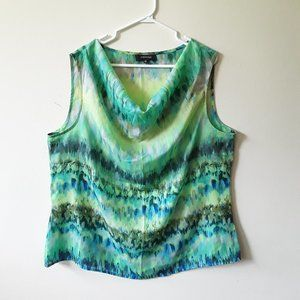 Jones & Co blue green horizontal abstract tank top